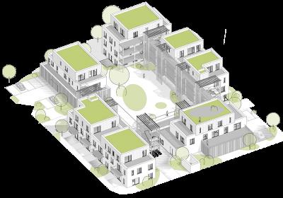 Skizze des Wohnprojekts der WiGe eG Warendorf