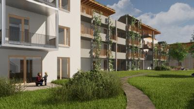 Eine gerenderte Grafik des Gemeinschaftsgartens des Wohnprojekts