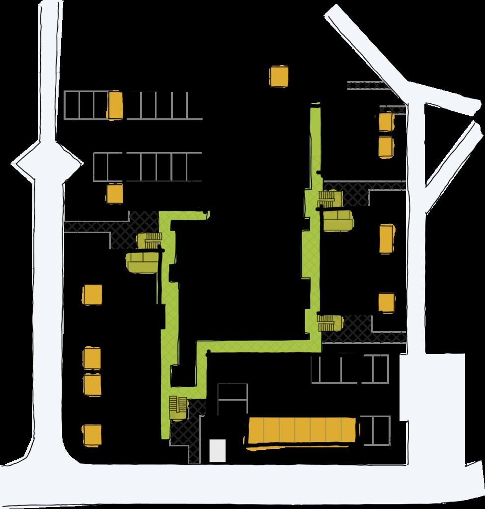 Skizze des Wohnprojekts auf der die Laubengänge und Balkone farblich markiert sind