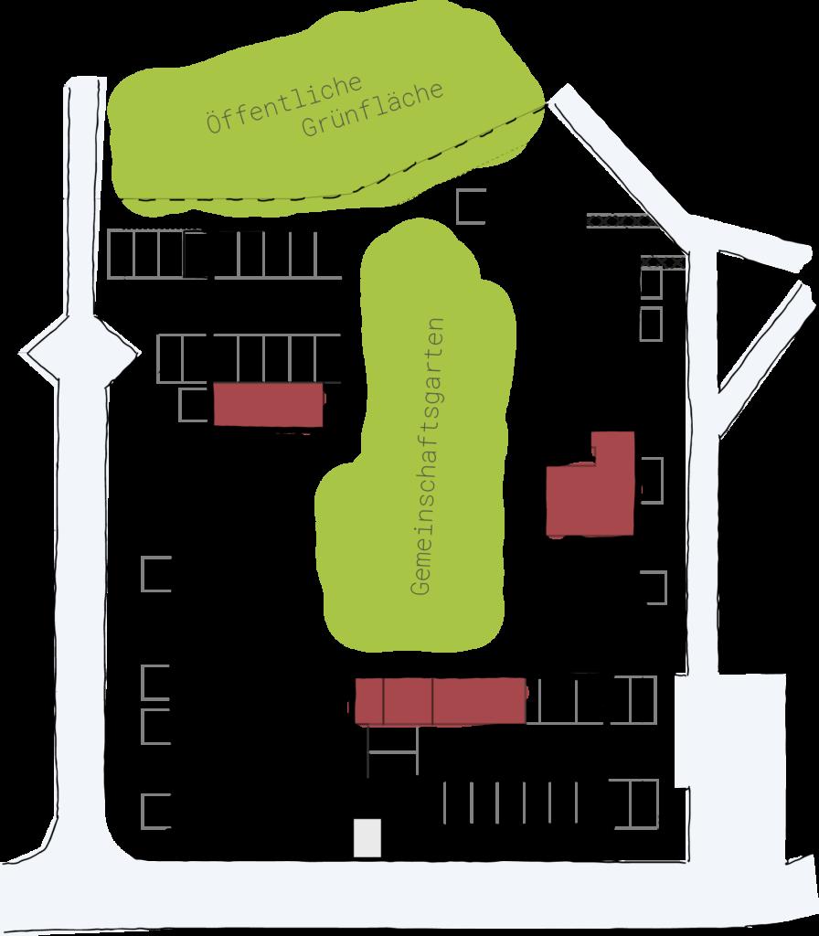 Skizze des Wohnprojekts auf der die Gemeinschaftsflächen farblich markiert sind