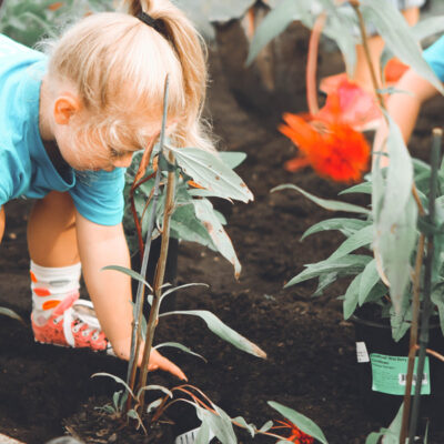 Ein junges Mädchen hilft bei der Gartenarbeit