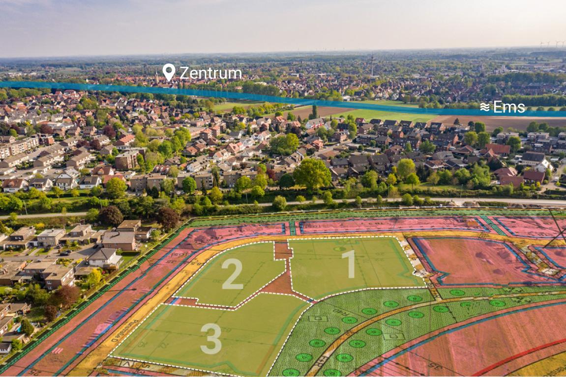 """Auf der Skizze des Baugebiets """"In de Brinke"""" sind die drei Projektabschnitte zu sehen"""