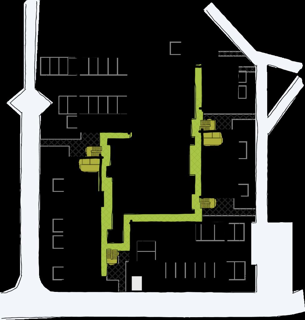 Die Skizze des Wohnprojekts, auf der die Laubengänge und Treppenaufgänge farblich markiert sind