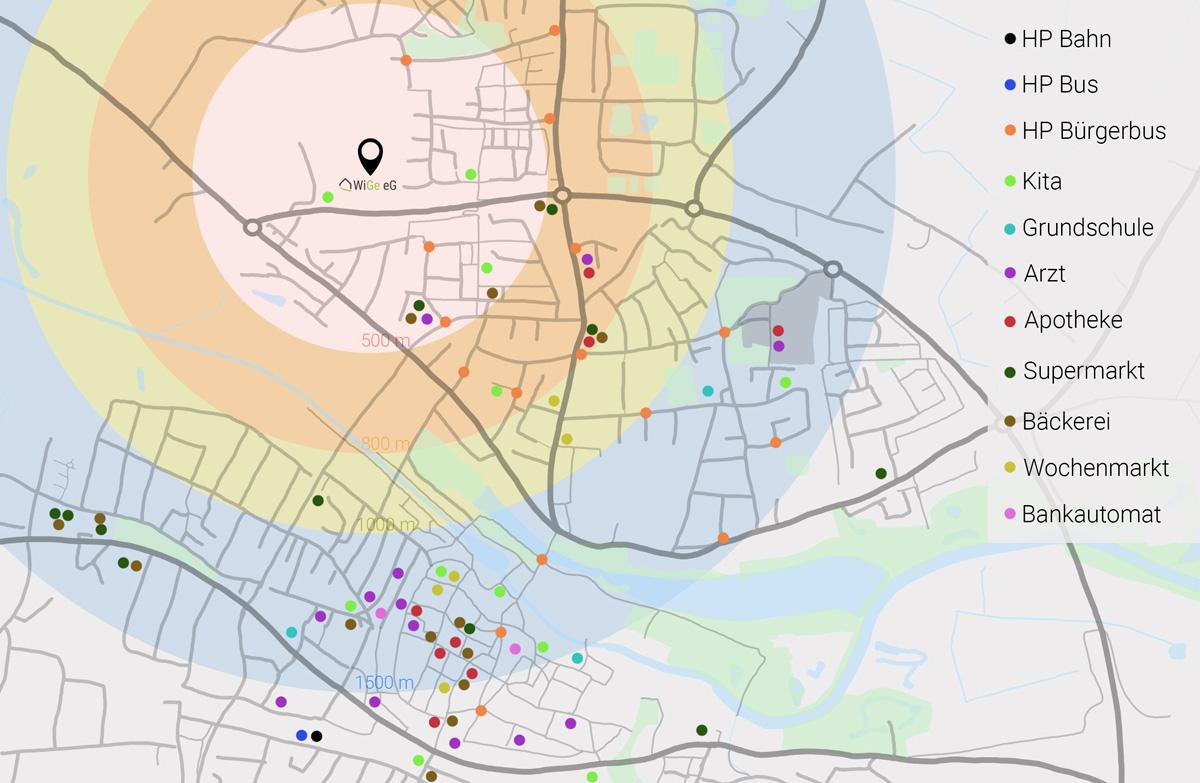 Eine Karte von Warendorf zeigt die Entfernungen und die wichtigsten Erreichbarkeiten